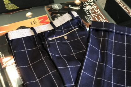 パンツ帯生地変更 ¥3,000 後ろポケット玉縁生地変更 ¥3,000
